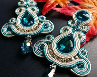 Soutache Earrings Statement Elegant Dangle Drop Earrings Sapphire Crystal Blue and White Earring