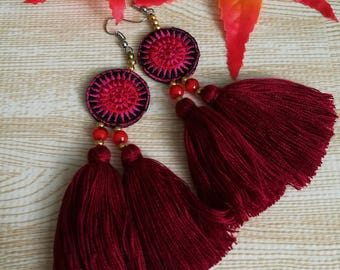 Handcraft Embroidered Tribal Ethnic Earrings Statement Dangle Drop Ethnic Boho Chic Tassel Earrings