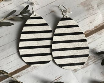 Black and White Stripe Faux Leather Teardrop Earrings