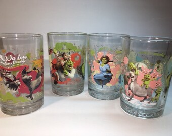 Set of 4 McDonald's Glasses Shrek Fiona Donkey Puss n Boots