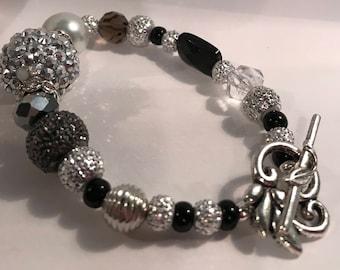 Black Bling-Sparkle Toggle Bracelet