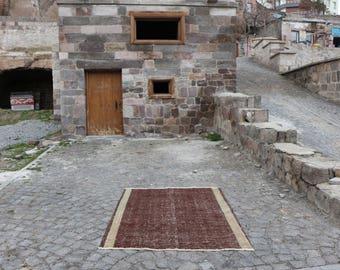 Brown color nomadic rug Free Shipping handknotted turkish rug 4.6 x 6.1 ft. rustic rug bohemian area rug organic wool rug floor rug MB234