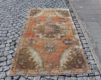 Turkish Rug Free Shipping 4.1 x 6.9 ft. handknotted area rug, low pile floor rug, oushak rug, pastel color rug, boho decorative rug, MB333