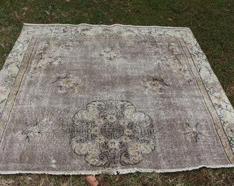 Turkish area rug bohemian floor rug hall rug Free Shipping 5.9 x 6.5 ft. muted color rug rustic rug handknotted rug natural rug  MB401