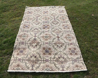 Flowered rug, oushak rug, 3.9 x 6.8 ft. Free Shipping turkish rug, bohemian rug, anatolian rug,decorative rug, bathroom rug, MB537