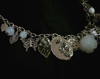Silver Nature-Inspired Charm Necklace