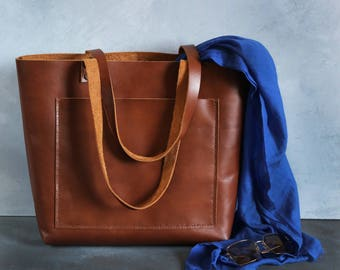Tote bag Tote bag with pockets Large leather tote bag - Tobacco leather Tote - Hand stitched shopper bag - with inside pocket