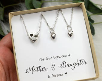 Mother Daughter bracelet Mother Daughter Jewelry  Mom Daughter Necklace To Mom from Daughter Mothers Jewelry Mom daughter heart matching
