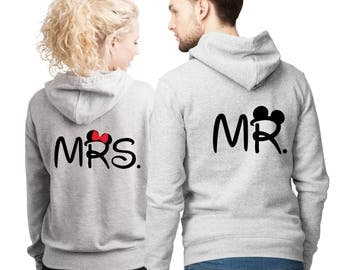 MR. and MRS. His and Her couple matching Heather grey hoodies set.