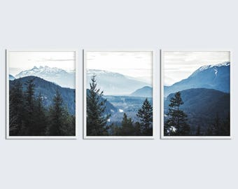 Set Of 3 Piece Wall Art Navy Blue Mountain Decor Printable Set Of 3  Printable Wall