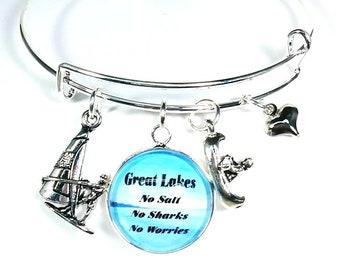 Great Lakes Bracelet, Great Lakes Charm Bracelet, Great Lakes Bangle, Great Lakes Jewelry, Michigan Jewelry, State of Michigan Jewelry