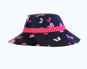 Fabulous Butterfly Printed Blue Cotton Sunhat