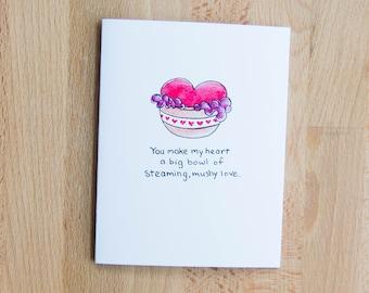 Mushy Love - Greeting Card - Watercolor Illustration