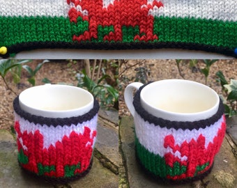Hand-made Mug Cosy/Mug Warmer - Six Nations Editions - Wales (Flag)