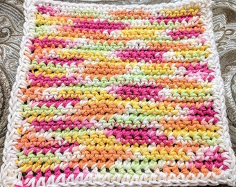 Summer Multicolor 100% Cotton Washcloth or Dishcloth with White Border