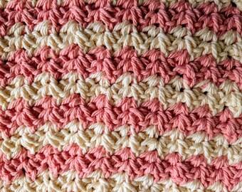 """8 1/2"""" Beige & Pink Striped Spider Stitch 100% Cotton Dishcloth or Washcloth"""