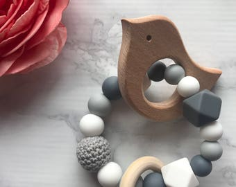 Baby teething toy with wood, silicone and crochet  baby gift baby shower