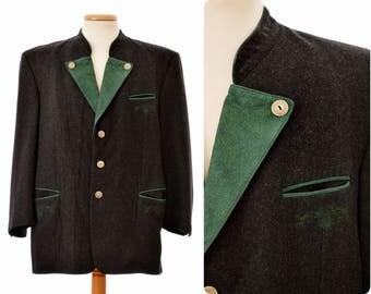 Austrian trachten blazer JACKET by Traunsee Trachten / mens size 27 large / leather trim / real antler buttons