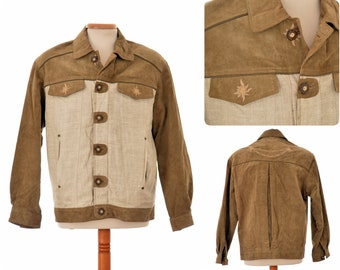 mens TRACHTEN JACKET / size Eur 50 UK 40 Medium / linen and leather / edelweiss embroidered / faux antler buttons