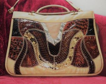 Vintage Caprice Genuine Snake Skin Handbag Purse / Snake Skin Accessories / Lizard Skin Purse / Vintage Handbag / Antique Purse / 1970s