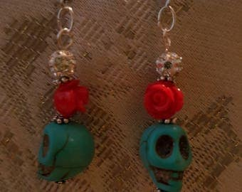 Turquoise Skull and Red Rose earrings