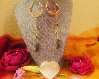 Gold Hoops with Feathers