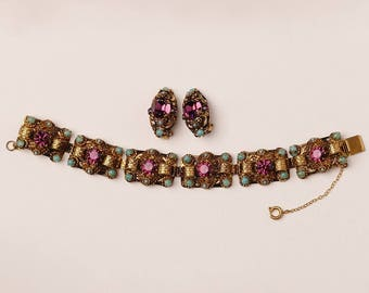 Amethyst and Turquoise Bracelet and Earrings Set circa 1950s