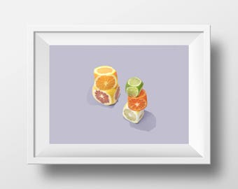 Print of still life with citrus fruits