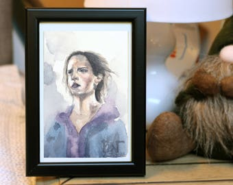 Emma Watson (Hermione Granger) REAL Copy Watercolour Drawing
