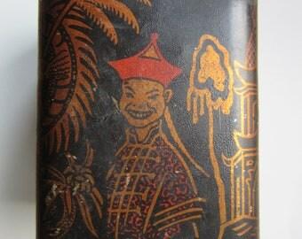 1910/20ies China Mandarin Tea Metal Tin Box made in Latvia