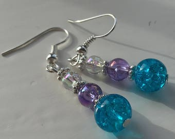 Blue, Purple and Iridescent Sterling Silver Dangly Drop Earrings