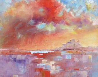 "Original Oil Painting.  Lindisfarne Sky. Modern Art. 12"" x 12"". Sea and Sky. Impressionist Art."