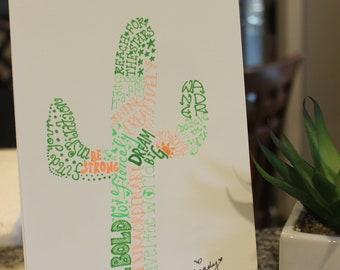 hand drawn inspirational word art saguaro cactus