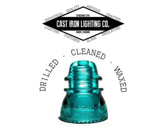Pre-Drilled Aqua Green Glass Insulator for Pendant or DIY Lighting - Hemingray 42 - CD 154