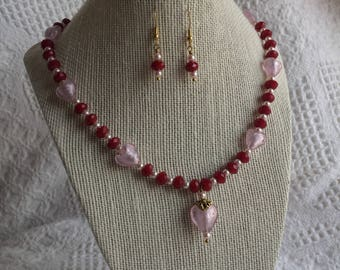 Valentines Heart Necklace and Earring Set