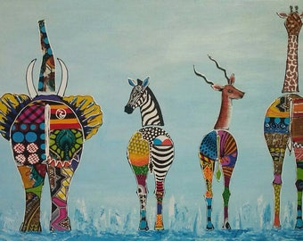 Wild Peagant,African art,African painting,Acrylics and fabric on canvas,Hand painting.