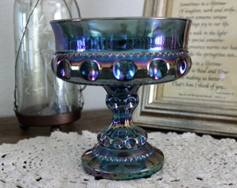 Kings Crown candy dish/bowl Compote carnival glass blue iris