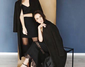 Coat total black