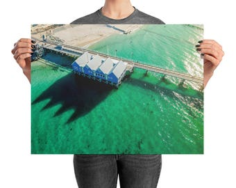 Jetty Print | Sunset | Print | Wall Art | Drone Photography | Beach landscape | Premium Luster Photo Paper | Poster