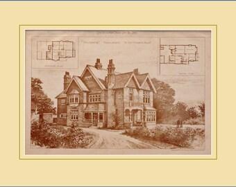 Antique architectural print at Kenilworth