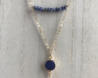 mixed blue stone + druzy
