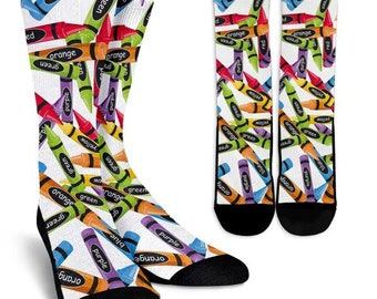 Colorful Crayon Crew Socks, Custom Printed Socks, Novelty Socks, Cute Socks, Cool Socks, Funny Socks, Fun Socks, Unique Socks