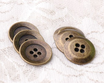 buttons metal buttons 4 holes sewing buttons 17mm 10pcs bronze metal buttons round buttons shirt buttons