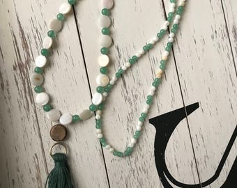 Green and white tassel necklace