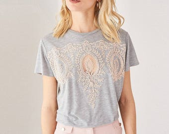 Embroidered Cotton T-shirt Grey