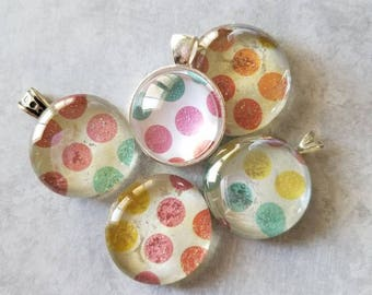 Pastel Glitter Polka Dot Decorated, Magnet, Necklace Pendant