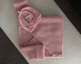 Baby jacket and cap pink knitted/made of merino wool/machine washable/Size 62-68