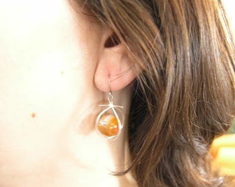 1000-56 Sterling Earrings with Agate Crystal