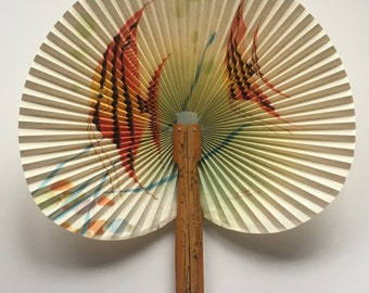 beautiful vintage folding hand fan - People's Republic of China (PROC)
