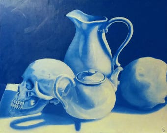 Beautiful blue and white skull, teapot, and pitcher still life oil painting